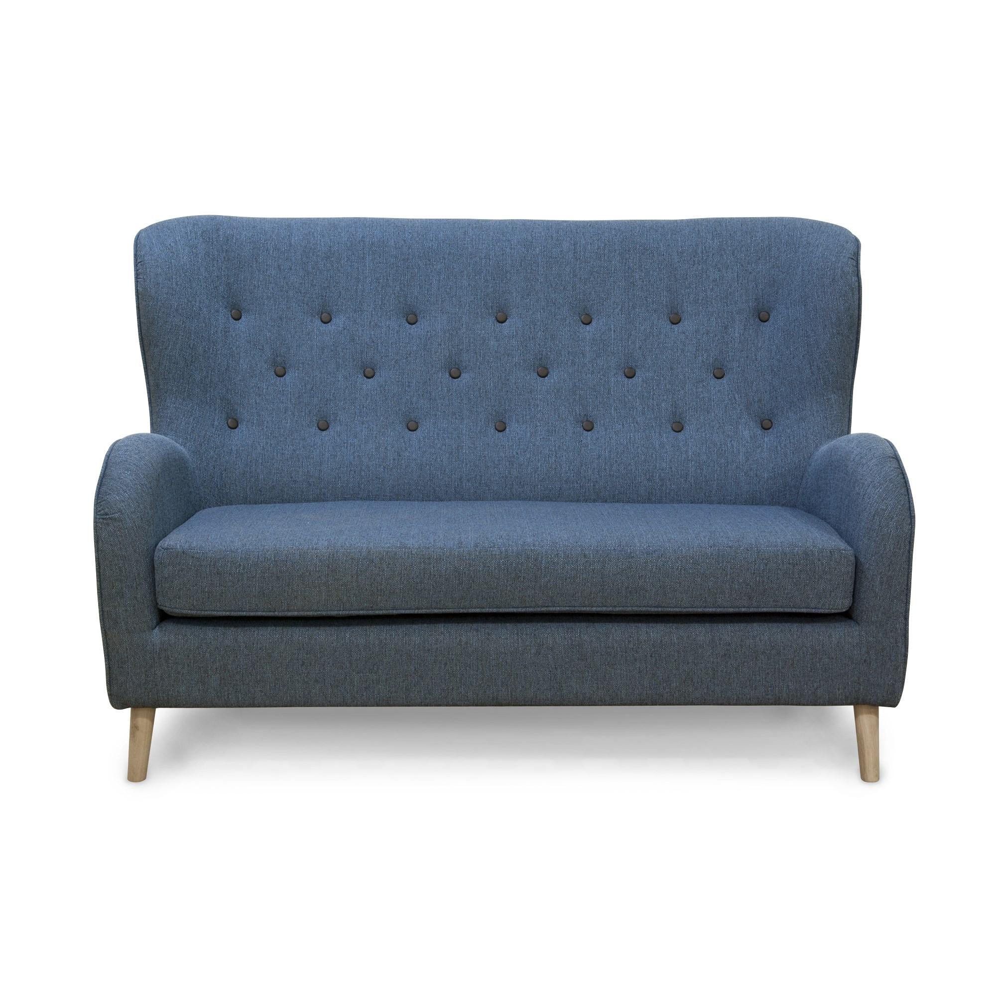Billede af King 2 Pers. Sofa I Petrofarvet Stofl Med Sorte Læderknapper