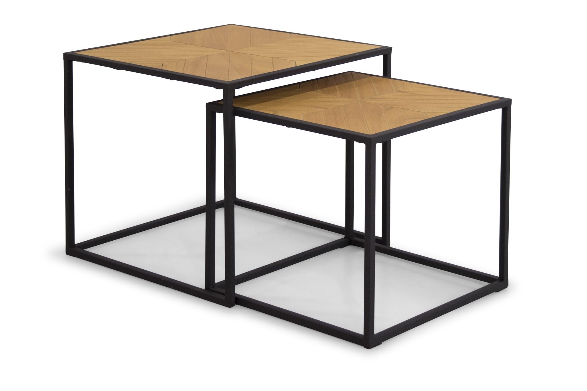 Køb Antigo Indskudsborde (2 Stk.), Træfinér Og Sort Metalstel