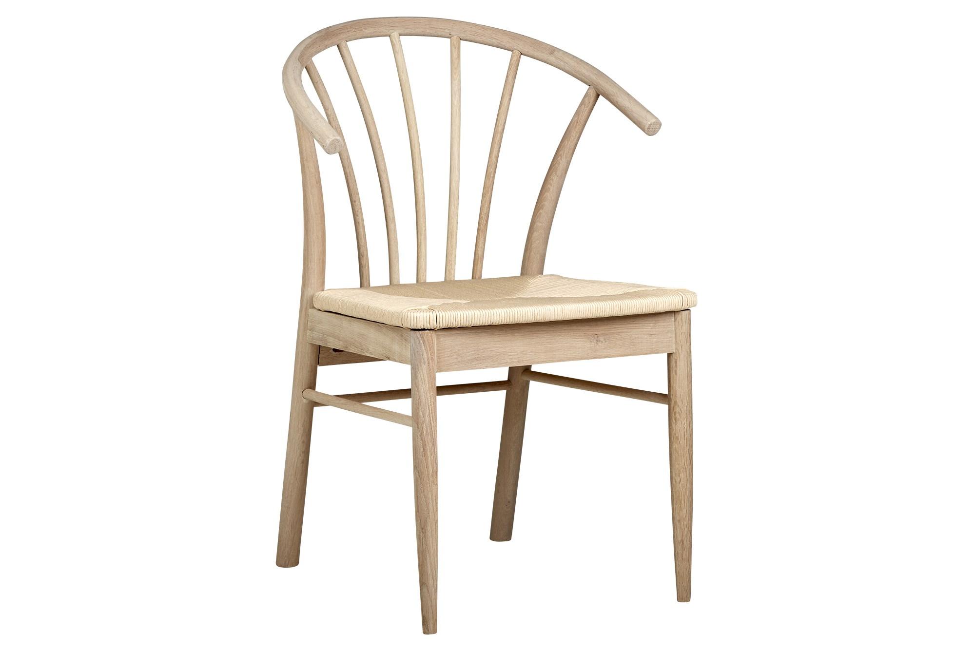 Køb Esløv Spisebordsstol I Hvidolieret Eg Med Lyst Fletsæde