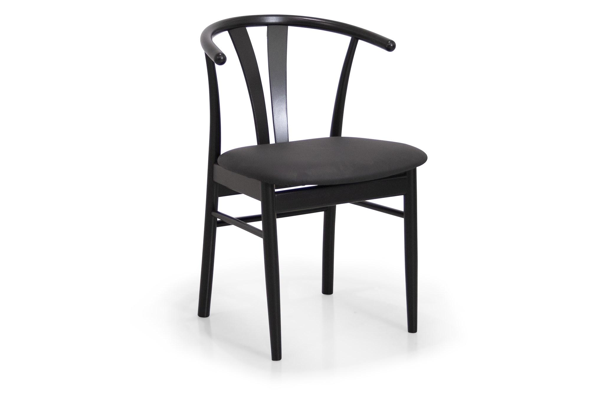 Køb Coint Stol I Sortlakeret Bøg Med Sæde I Sort Læder
