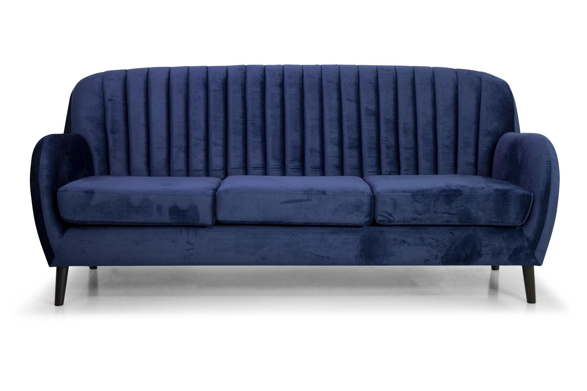 Billede af Boliva 3 Pers. Sofa I Blåt Velour Og Sorte Ben