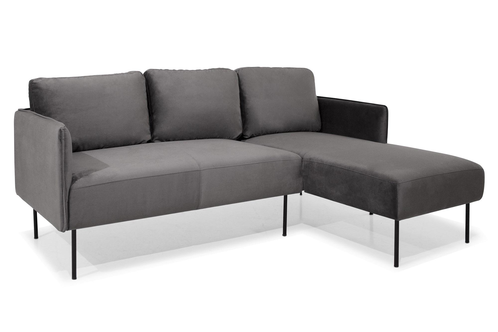 Rachel 3 Pers. Sofa Med Chaiselong, Grå Velour (Højrevendt)
