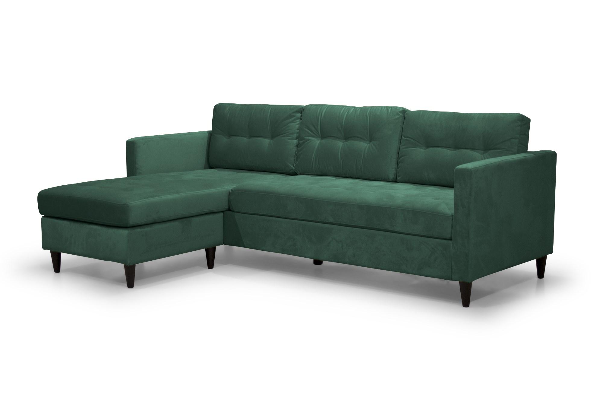 Lopez Sofa Med Chaiselong I Grøn Velour Stof Sorte Træben