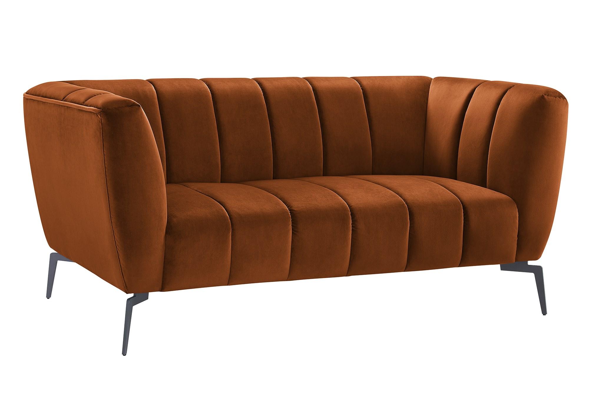 Pavia 2 Personers Sofa I Bronzefarvet Stof Med Sorte Metalben