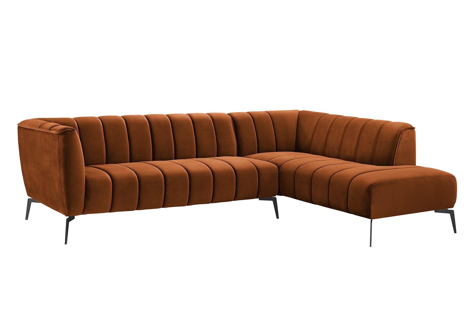 Køb Pavia Sofa Med Chaiselong I Bronzefarvet Velour M Sorte Metalben