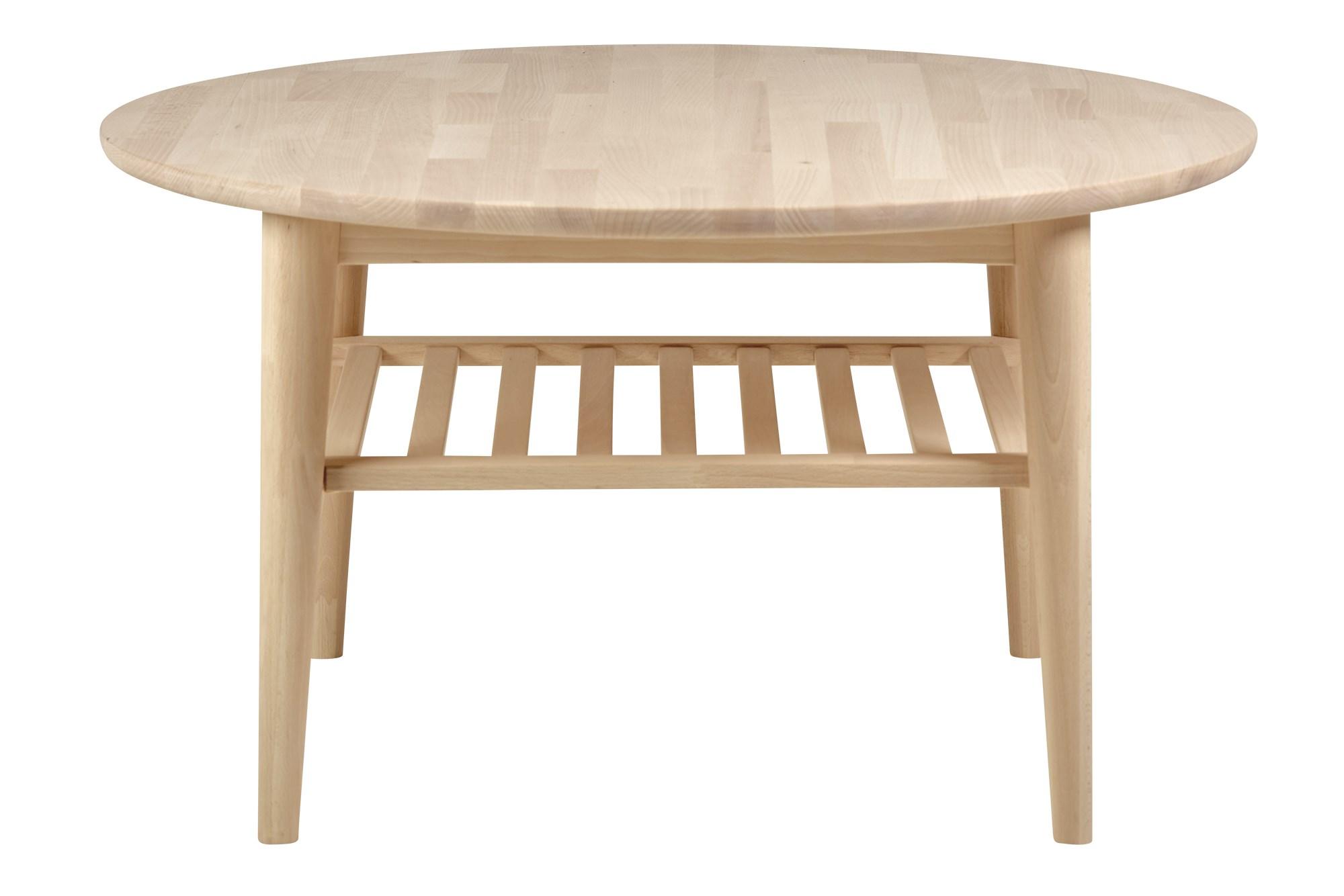Køb Dash Rundt Sofabord Med Hylde, Massivt, Hvidolieret Bøg