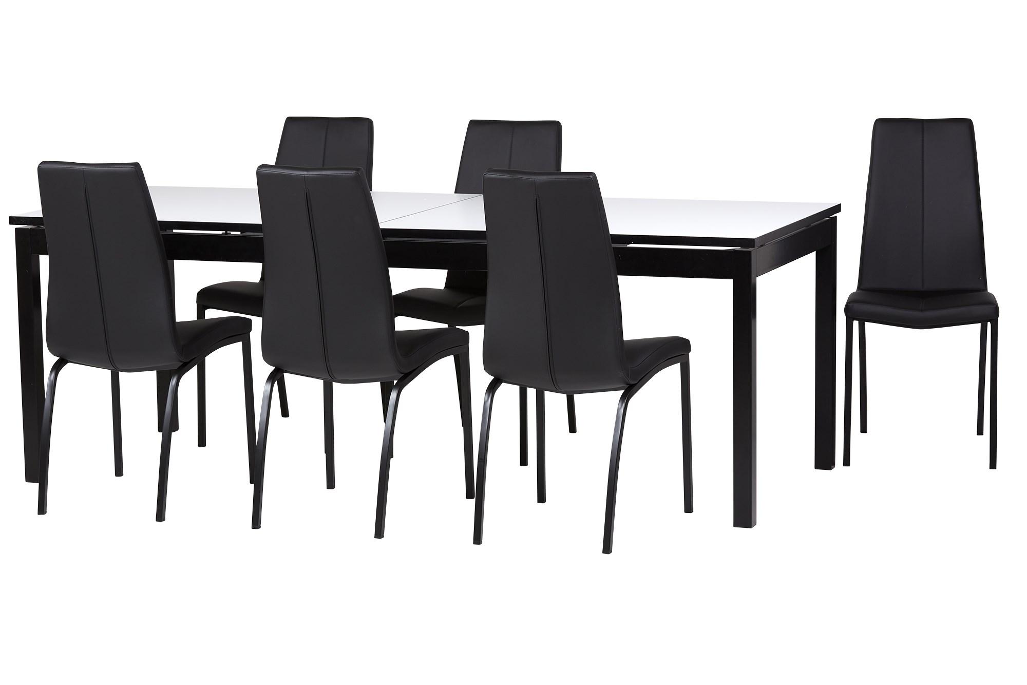 Køb Parga Spisebord M/ 1 Tillægspl, 6 Stk Sort Alina Spisestuestol