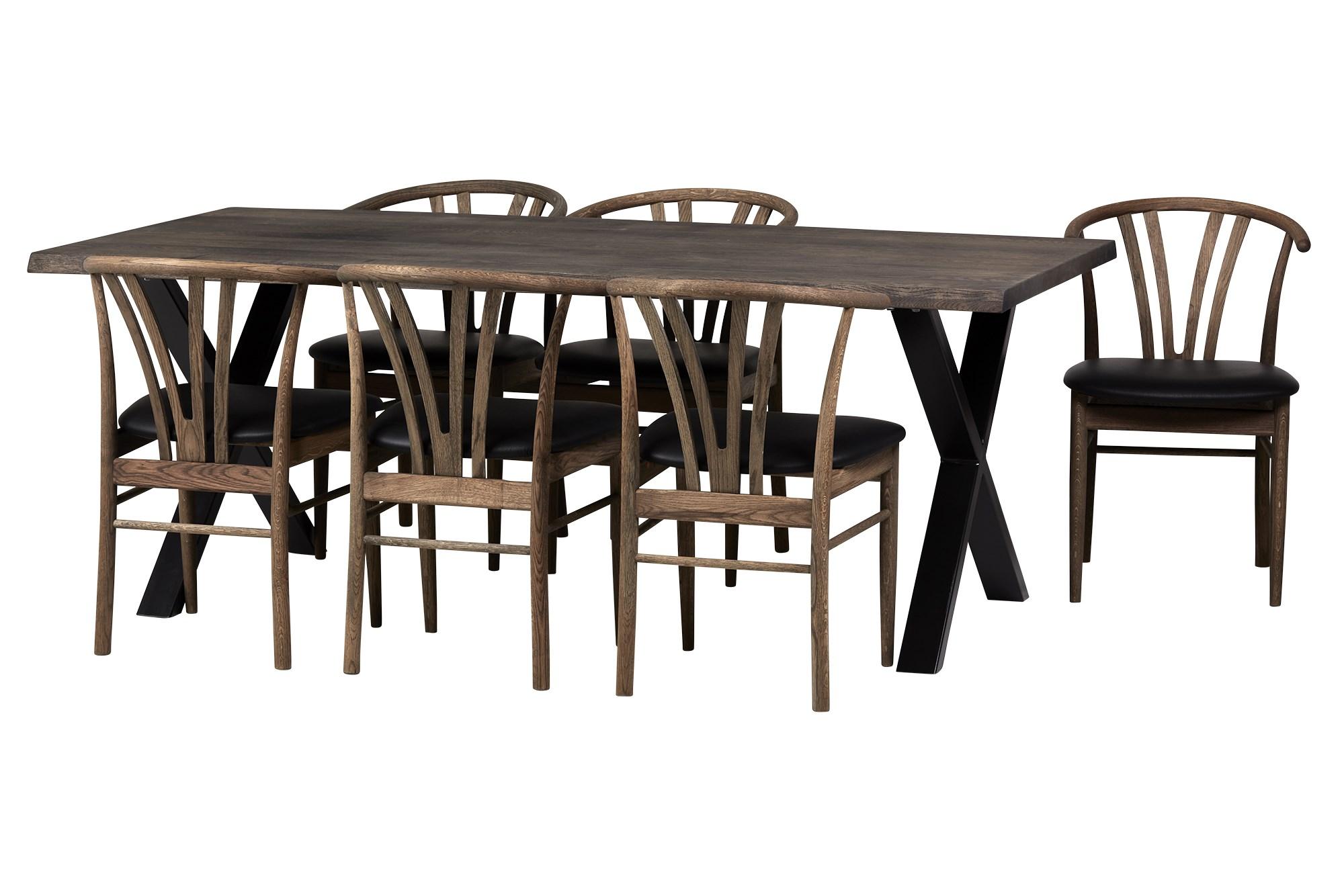 Køb Visborg Spisebord 200 X 95, M. 6 Devon Smoked, Sort Læder